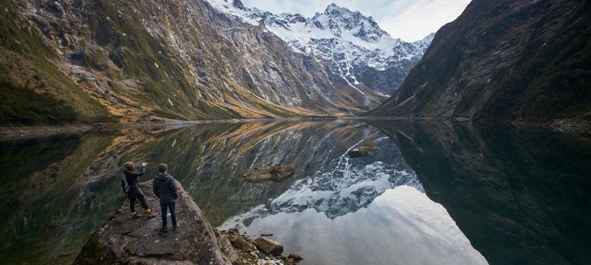 Fully guided day walk from Te Anau to Lake Marian, alpine lake day walk